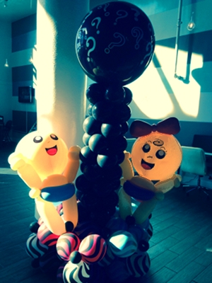 gender reveal balloon sculpture