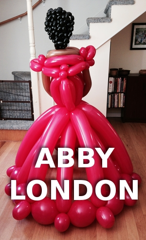 life sized lady balloon sculpture